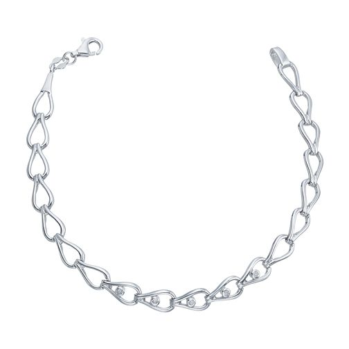 "Silver Rhodium Diamond Set 7.5"" Loop Design Bracelet - Product number 4233786"