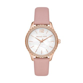 Michael Kors Layton Ladies' Pink Leather Strap Watch - Product number 4234421