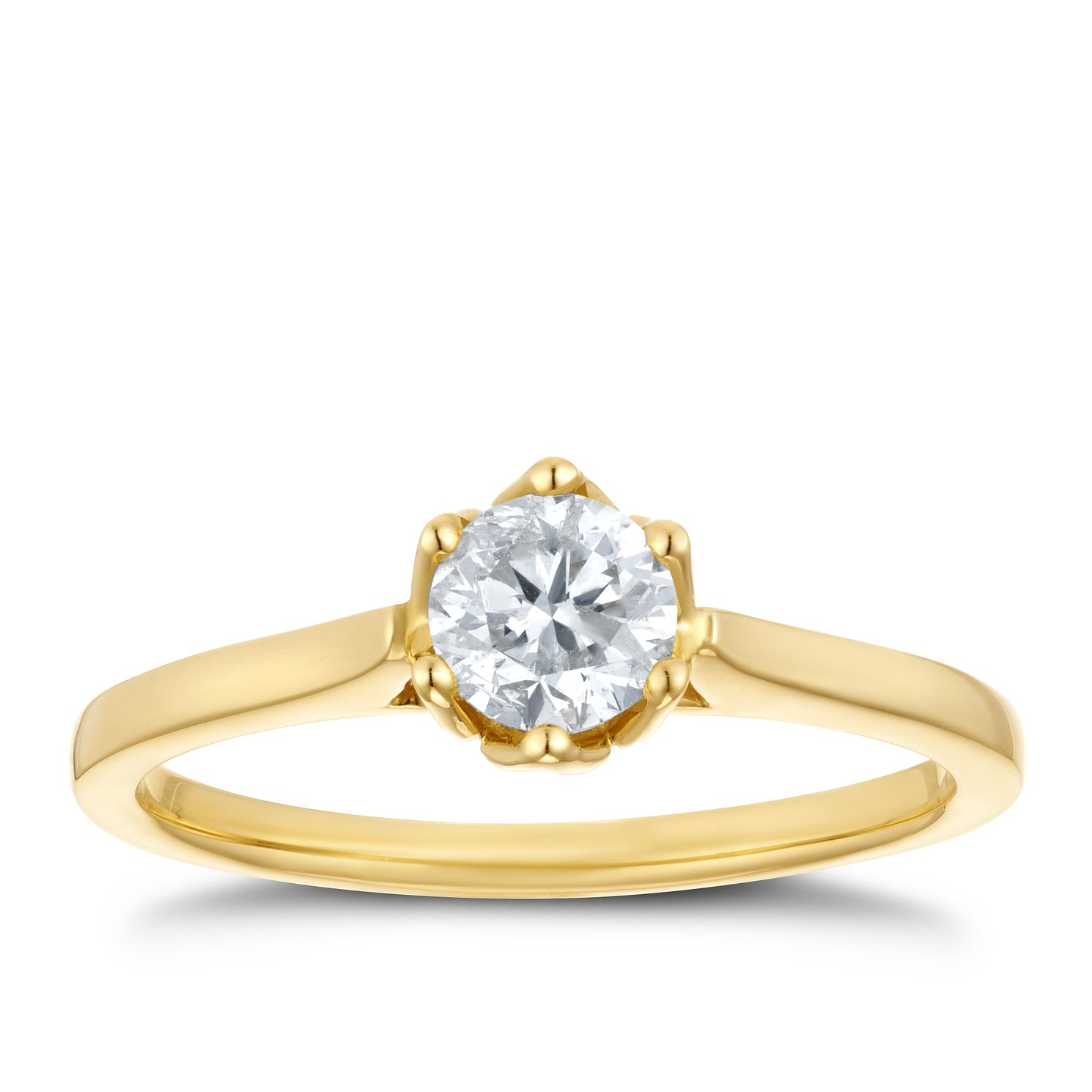 18ct Yellow Gold 1/2ct Diamond Solitaire Ring - Product number 4234456