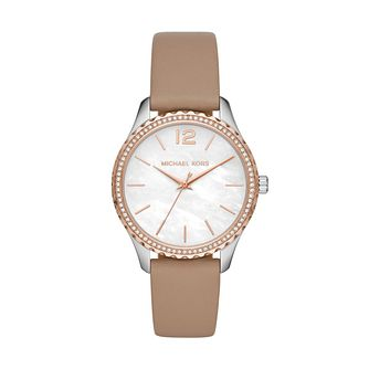 Michael Kors Layton Ladies' Brown Leather Strap Watch - Product number 4234464