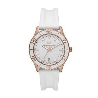 Michael Kors Runway Ladies' White Silicone Strap Watch - Product number 4234707