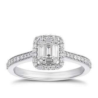 Platinum 1/5ct Mixed Cut Diamond Halo Ring - Product number 4235916