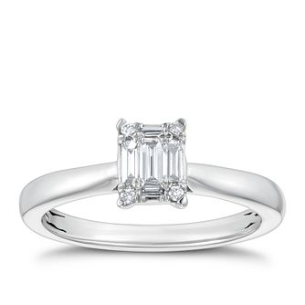 Platinum 1/5ct Round & Baguette Diamond Rectangle Ring - Product number 4236203