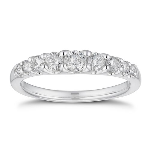 9ct White Gold 1/2ct Diamond Gradient Eternity Ring - Product number 4236823
