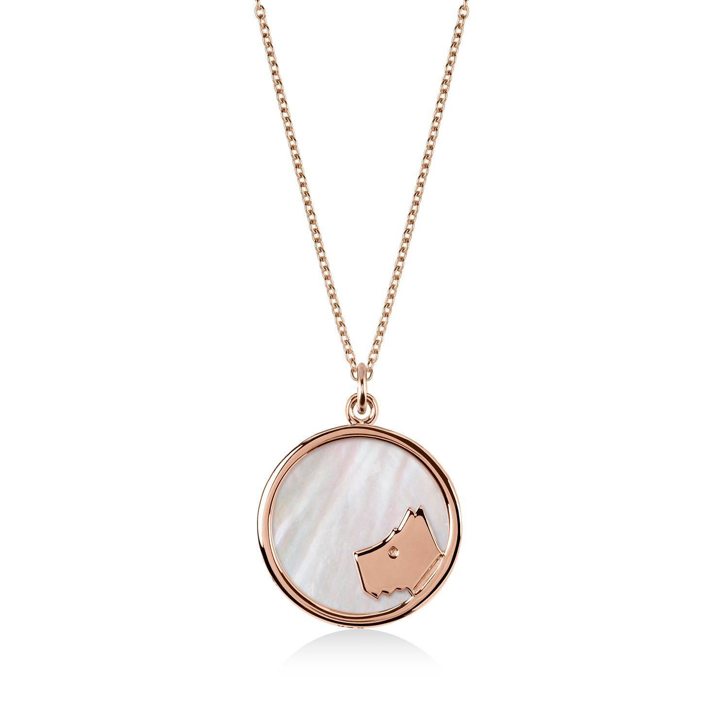 Radley 18ct Rose Gold Plated Pink Mother Of Pearl Necklace - Product number 4237307