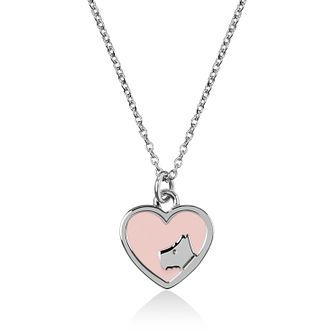 Radley Rhodium Plated Pink Enamel Heart Necklace - Product number 4237315