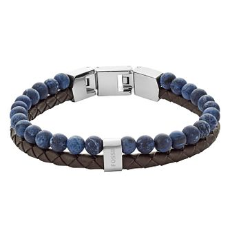 Fossil Vintage Ladies' Leather Blue Bead Bracelet - Product number 4237528