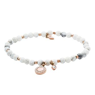 Fossil Ladies' Rose Gold Tone Howlite Wellness Bracelet - Product number 4237773