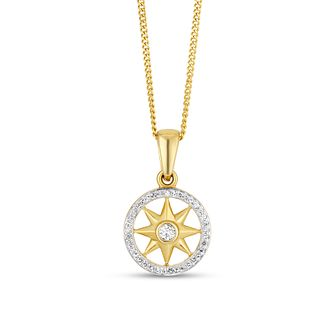 9ct Yellow Gold Diamond Compass Pendant - Product number 4238265