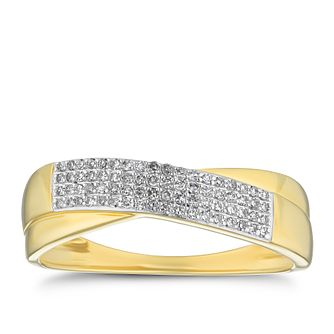 9ct Yellow Gold 0.12ct Diamond Crossover Ring - Product number 4238435