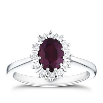 18ct White Gold 0.15ct Diamond & Ruby Halo Ring - Product number 4238613