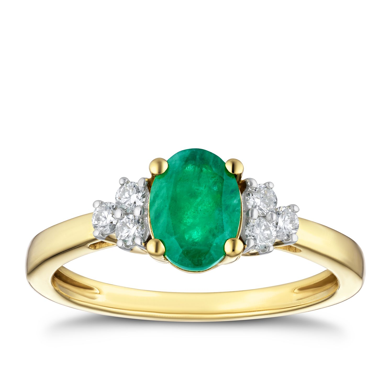 18ct Yellow Gold 0.16ct Diamond & Emerald Ring - Product number 4239083