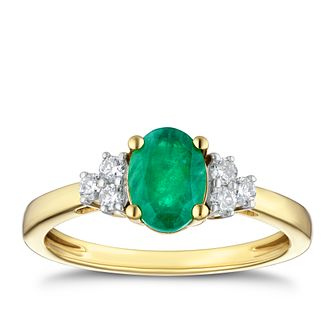 18ct Yellow Gold Emerald & 0.16ct Diamond Ring - Product number 4239083