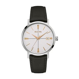 Bulova Men's Classic AeroJet Black Leather Strap Watch - Product number 4239288