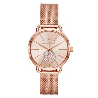 Michael Kors Portia Ladies' Rose Gold Tone Bracelet Watch - Product number 4239431