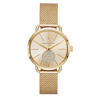 Michael Kors Portia Ladies' Yellow Gold Tone Stone Set Watch - Product number 4239458