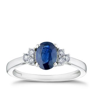 18ct White Gold Sapphire & 0.16ct Diamond Ring - Product number 4239539