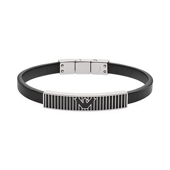 Emporio Armani Black Leather & Stainless Steel Bracelet - Product number 4240820