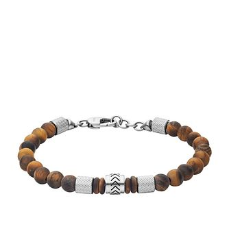 Fossil Heritage Men's Tiger's Eye Beaded Bracelet - Product number 4240871