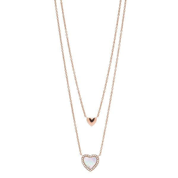 Fossil Hearts To You Rose Gold Tone Multi-Strand Necklace - Product number 4240898
