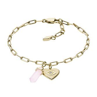 Fossil Power Of Crystals Gold Tone Rose Quartz Bracelet - Product number 4240952