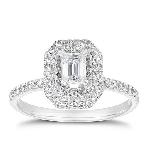 18ct White Gold 3/4ct Diamond Double Emerald Cut Halo Ring - Product number 4242556