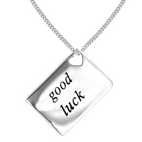 Lily & Lotty Silver Rhodium Plated 'Good Luck' Pendant - Product number 4243781
