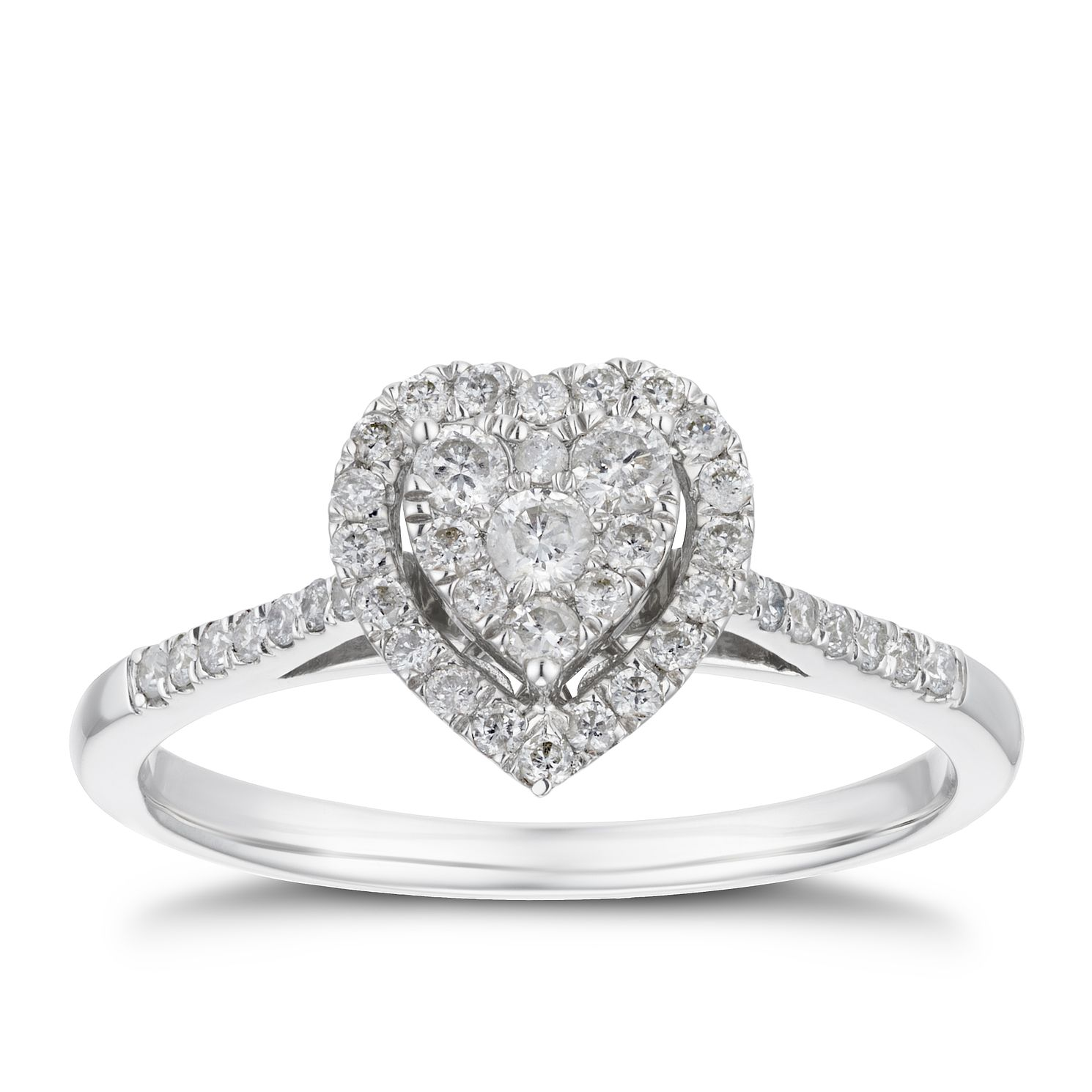 9ct White Gold 0.33ct Total Diamond Heart Halo Ring - Product number 4244192