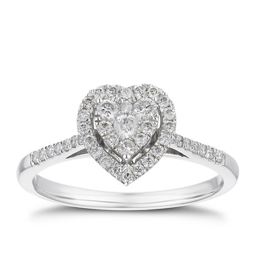 9ct White Gold 1/3ct Diamond Heart Halo Ring - Product number 4244192