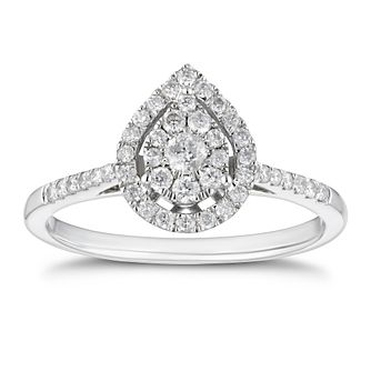 9ct White Gold 1/3ct Diamond Pear Halo Ring - Product number 4244400