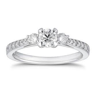 Platinum 3/4ct Diamond Three Stone Ring - Product number 4244907