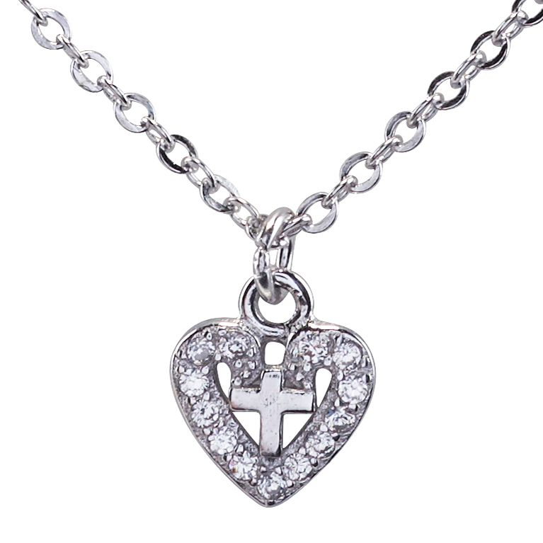 Cailin Sterling Silver Heart & Cross Pendant - Product number 4245571