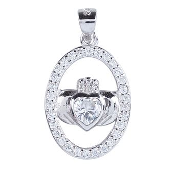 Cailin Sterling Silver Claddagh Oval Cubic Zirconia Pendant - Product number 4245695