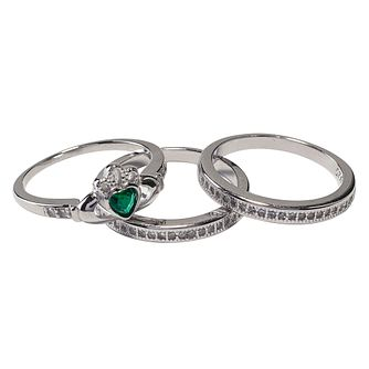 Cailin Silver Green Cubic Zirconia 3 Piece Claddagh Ring Set - Product number 4245849