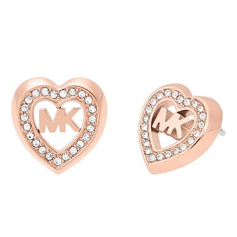Michael Kors Ladies' Rose Gold Tone Stone Set Heart Earrings - Product number 4247078