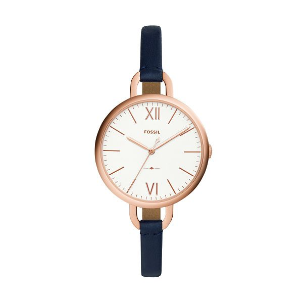 Fossil Annette Rose Gold Tone Blue Leather Strap Watch - Product number 4249690