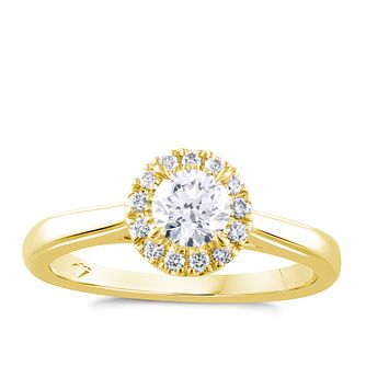 Arctic Light 18ct Yellow Gold 1/2ct Diamond Round Halo Ring - Product number 4251407