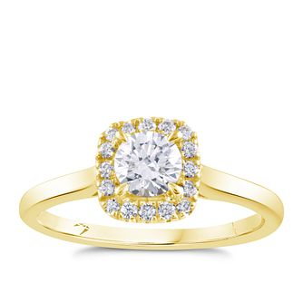 Arctic Light 18ct Yellow Gold 1/2ct Diamond Square Halo Ring - Product number 4252047