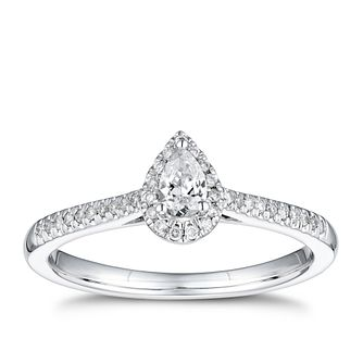 9ct White Gold 1/4ct Pear Halo Ring - Product number 4253205