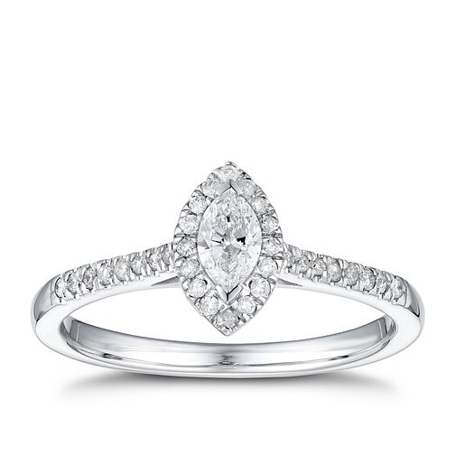 9ct White Gold 1/3ct Diamond Marquise Halo Ring - Product number 4253930