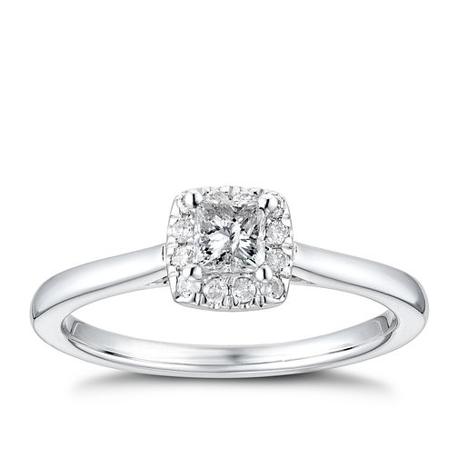 9ct White Gold 1/3ct Diamond Princess Halo Ring - Product number 4254104