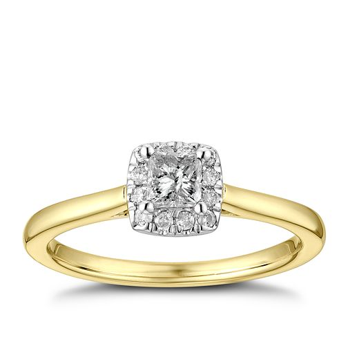 9ct Yellow Gold 1/3ct Diamond Princess Halo Ring - Product number 4254503