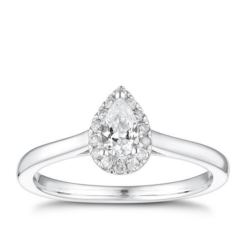 9ct White Gold 1/3ct Diamond Pear Mini Halo Ring - Product number 4254686