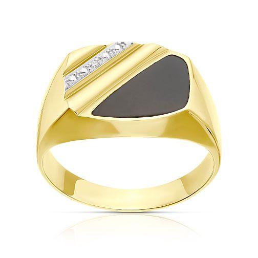 9aeae3cd43ce5 Men's 9ct gold diamond & onyx ring