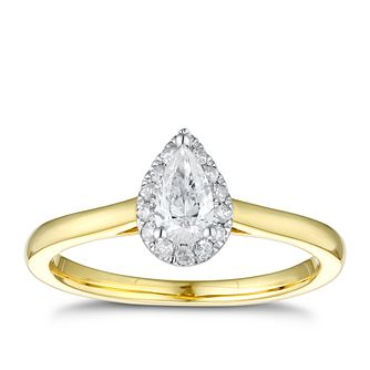 9ct Yellow Gold 1/3ct Diamond Pear Mini Halo Ring - Product number 4254945