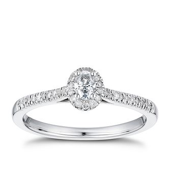 9ct White Gold 1/4ct Oval Halo Ring - Product number 4255089