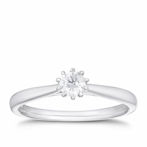 9ct White Gold 1/4ct Diamond 10 Claw Solitaire Ring - Product number 4255216