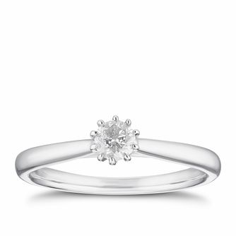 9ct White Gold 1/5ct Diamond 10 Claw Solitaire Ring - Product number 4255372