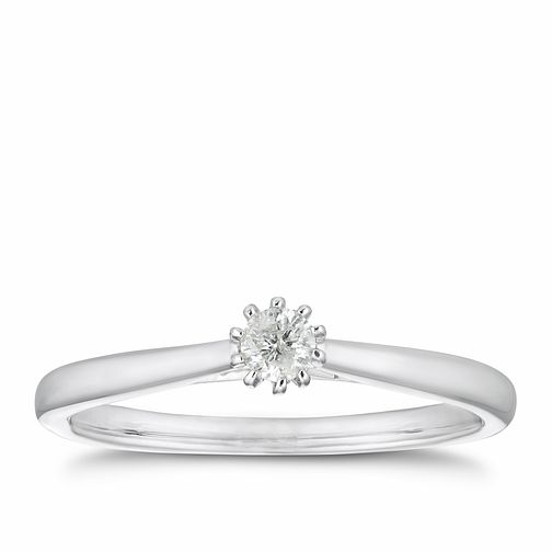 9ct White Gold 1/10ct Diamond 10 Claw Solitaire Ring - Product number 4255577