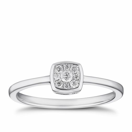 9ct White Gold 1/10ct Diamond Cushion Cluster Ring - Product number 4256859